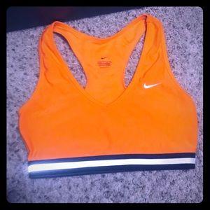 Orange Nike sports bra, small